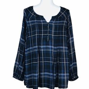 Style & Co Womens Top Blue Plaid Pintuck 12W OX